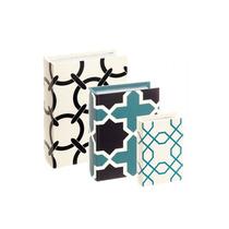 Kit Caixa Livro 3 Peças Geometrico Turquesa Preto Branco