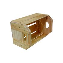 Caixote De Madeira Estilo Caixa De Feira Com Alça Pequeno