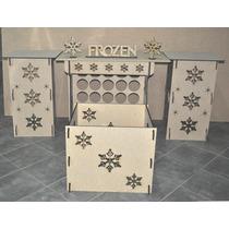 Festa Provençal Frozen Mdf -com Mesa - Cubo E Caixa Presente