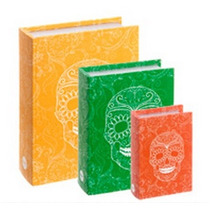 Conjunto Caixa Livro 3 Peças Book Box Deco Caveira Colorida