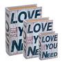 Conjunto Caixa Livro 3 Peças Book Box Decorativa Love