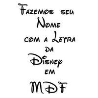 Seu Nome Com Letra Da Disney. Personalizado!! Em Mdf!!