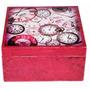 Porta-relógios Cor De Rosa Divisórias Caixa Mdf Decoração