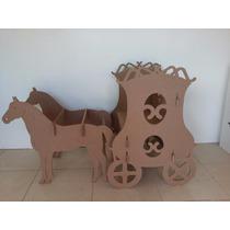 Carruagem Banco Cavalos Desmontável Mdf Decoração + Coroa