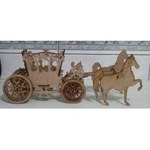 Carruagem Com Cavalos Em Mdf Cru- Enfeite De Mesa - Cachepô