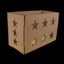 Caixa De Presente Provençal Estrelas Festa Decoração Mdf