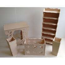 Kit Provençal Mdf Mesa Carruagem+estante1,25+caixa+2cachepot