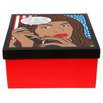Caixa Porta-objetos Mdf Decoupage Decoração Beyoncé Diva Pop