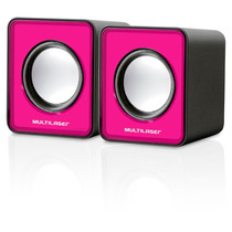 Caixa De Som 2.0 Multilaser Mini 3w Rms Usb P/ Notebook Rosa