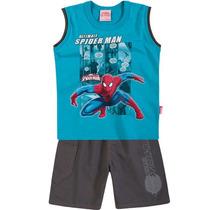 Conjunto Infantil Homem-aranha Camisa Bermuda - Brandili