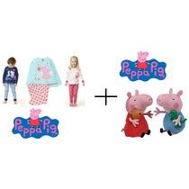 Peppa Pig Kit 1 Pijama + 2 Bonecos De Pelúcia Pronta Entrega