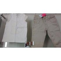 Conjunto Carinhoso Menina, Blusa+calça De Tricoline