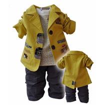Conjunto Infantil Casaco Amarelo Camiseta Longa Calca Menino