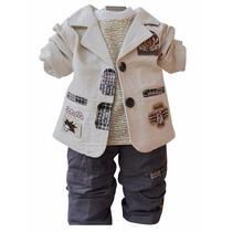 Conjunto Infantil Casaco, Camiseta Manga Longa, Calça Menino