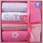 Kit 2 Camisetas, 2 Bodys, 2 Calças Baby Rosa Baby0 A 6 Meses