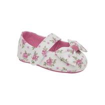 Sapatinha Infantil Floral Branco E Rosa - Calçados Babyi