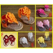 Bebe Sapatinho Dedinhos De Fora Com Flor De Croche