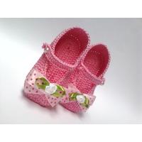 A147 Sapatinho De Croche Infantil 8,5 Cm Bebe Enxoval Menina