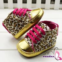 Sapato Leopardo Importado Para Bebê Meninas Ouro E Rosa