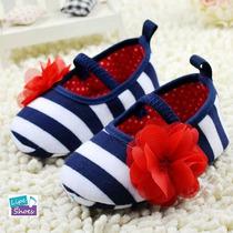 Sapato Bebê Infantil Menina Listrado Azul/branco Boneca