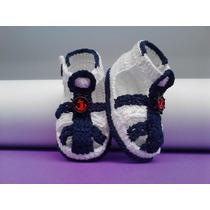 Sapatinho Croche Masculino Branco Azul Sandalia Bebe Menino