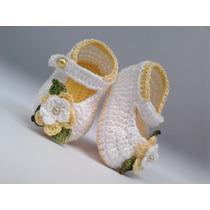 A 196 Sapatinho Croche Feminino Amarelo E Branco Bebe Menina