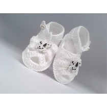 A 24 Sapatinho De Croche Masculino Branco 9 Cm Bebe Menino