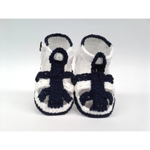 A215 Sandalia De Croche Masculina Azul Marinho Orna Enxoval