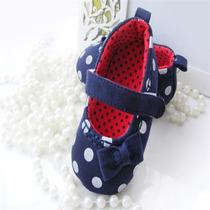 Sapatilha Azul Bolinhas Branca Bebê Menina + Brinde