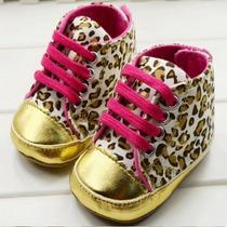 Sapato Para Bebê Menina Onça/dourado - Pronta Entrega
