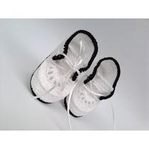 A84 Sapatinho De Croche Masculino Tenis Bebe Enxoval Menino