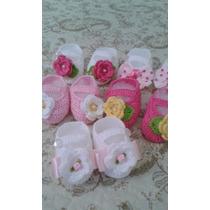 Kit Com 6 Sapatinhos De Crochê Para Bebê