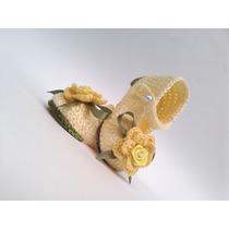 A179 Sapatinho De Croche Feminino Amarelo De Menina Com Flor