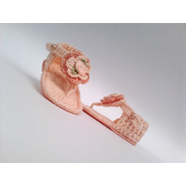 A299 Sandalia De Croche Feminina Salmao Menina Com Flor