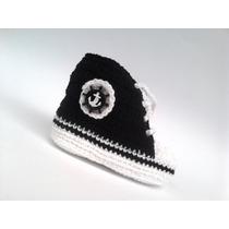A 201 Sapatinho De Croche Masculino Bebe Menino Ancora Preta