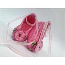 A123 Sapatinho Croche Infantil Sapatilha Bebe Enxoval Menina