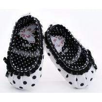 Sapato Infantil Branco Bolinhas Pretas Pronta Entrega