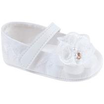 Sapatinho Bebê Branco Menina - Pimpolho