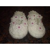 Sapatinho De Bebê Croche Lã Batizado Branco Sapatilha
