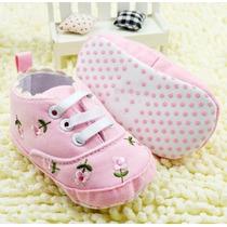 Tênis Floral Rosa Baby -tênis Infantil Bebê Rosa - Sapatinho