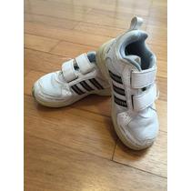 Tênis Infantil Adidas Tam. 23 Branco E Preto Importado