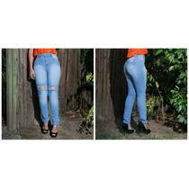 Calça Jeans Feminina Destroyed Cintura Alta