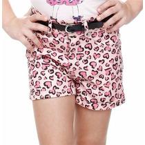 Shorts Sarja Menina Rosa Estampado Com Cinto Tam 8! Novo