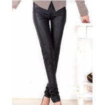 Calça Feminina De Couro Ecológico Skinny Slim Luxo