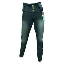 Calça Jeans Feminina Cintura Alta Strech Elastano Cós Alto