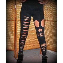 Calças Legging Customizadas Rasgadas Giletadas Caveira
