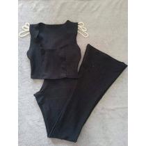 Conjunto Calças Flare Em Bandagem Cós Alto E Cropped