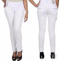 Sawary Jeans Calça Cós Largo Média Branca Maravilhosa
