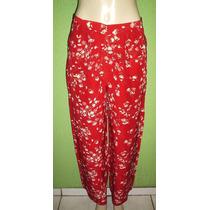 Calça Pantalona Seda Estampa Floral Tamanho 42