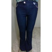 Linda Calça Flare Feminina Jeans Escuro Plus Size 46 Ao 52